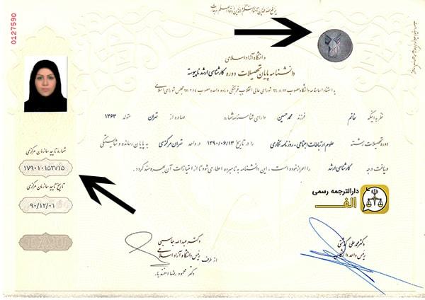 ترجمه مدارک دانشگاهی - دانشنامه دانشگاه آزاد با هولوگرام سازمان مرکزی